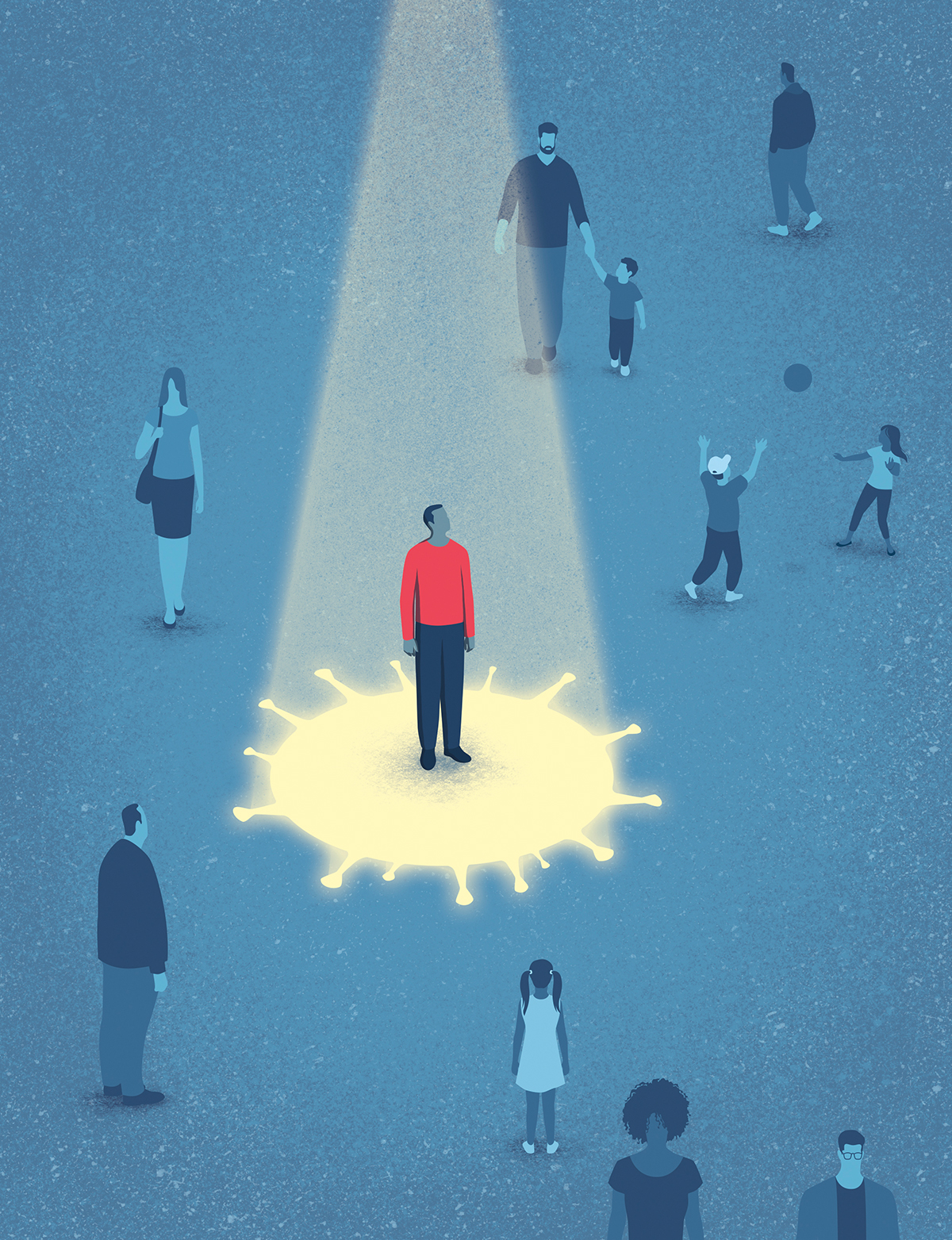 Illustration of a man isolated from others by a coronavirus shaped spotlight