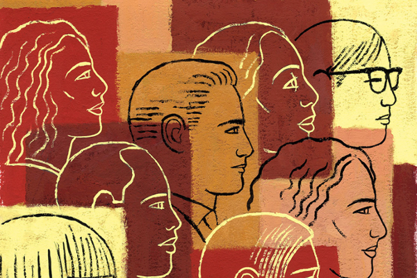 Illustration of diverse faces, in the style of a wall mural