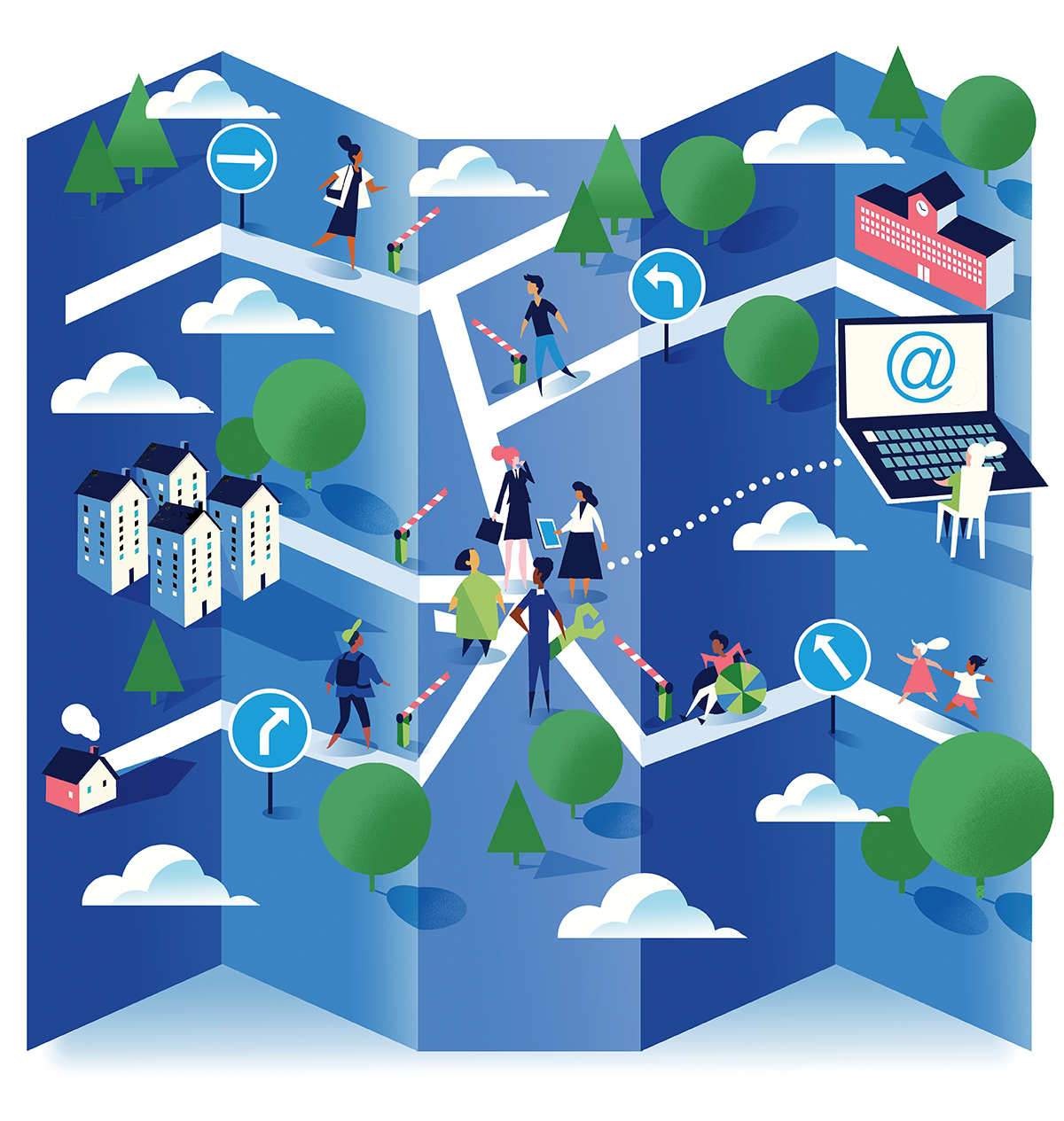 Illustration of a community with people in business attire meeting where the roads intersect.